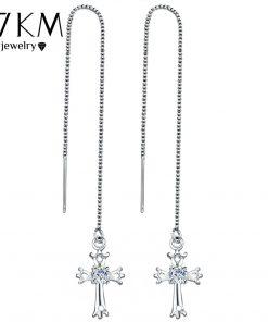 17KM Fashion Cubic Zirconia Cross Lock Drop Earrings For Women Rose Gold Color Long Tassel Dangle Earring Party Wedding Jewelry 1