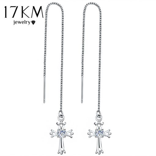 17KM Fashion Cubic Zirconia Cross Lock Drop Earrings For Women Rose Gold Color Long Tassel Dangle Earring Party Wedding Jewelry 1