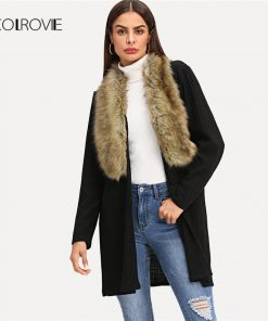 COLROVIE Black Solid Faux Fur Longline Neckline Winter Women Coats 2018 Autumn Street Fashion Office Warm Elegant Lady Outwear