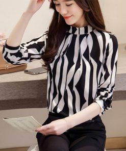 fashion woman blouses 2018 long sleeve shirt women striped chiffon blouse shirt OL blouse women blusa feminina shirt top 1081 40 1