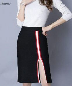 Danjeaner Korean Fashion Women High Waist Sexy Split Patchwork Pencil Skirts Autumn Winter Warm Knitted Bodycon Skirts Saias 1