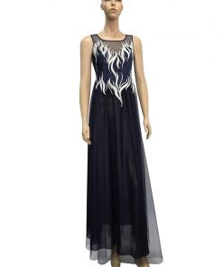 Luxurious Embroidery Beading Evening Dress Plus Size Formal Gown Navy Blue Fashion O Neck Sleeveless Long robe de soiree 2018 1