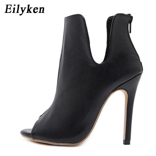Eilyken Spring/Autumn Gladiator V Mouth Women Pumps Zipper Fashion Black Sexy  Peep Toe Cover Heel Pumps 12CM Size 35-40 2