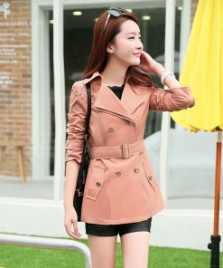 2018 New Fashion Brand Vintage European Trench Coat khaki Black Double Breasted Women Ladies Office Coat Outwear Clothing Z5869 1