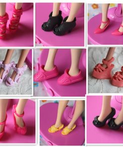 For Original Barbie 20pcs-40pcs Mix doll house Sandals For Decor Doll Toy Girls Dolls Accessories Play House Party Girls Gift 1