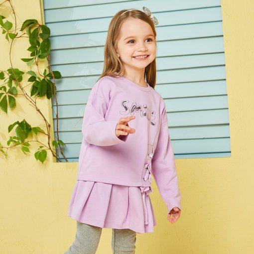Balabala child clothing suit set toddler girl clothing girls costume o-neck long sleeve Pullover sets with Belt clothing sets  3