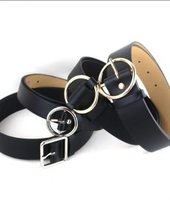 HOT Circle Pin Buckles Belt female deduction side gold buckle jeans wild belts for women fashion students simple casual trousers 1