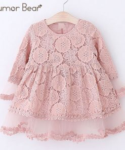 Humor Bear Girls Dress 2018 Autumn Brand Kids Dress Lace Flare Sleeve Style Princesses Mesh Dress Baby Girls Dress