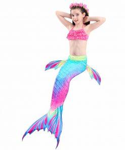 NEW Arrival! 3Pcs/set Fancy Mermaid tails  Flipper mermaid swimming tails for Kids Girls Summer Beach Wear Swimsuits Bikini Set