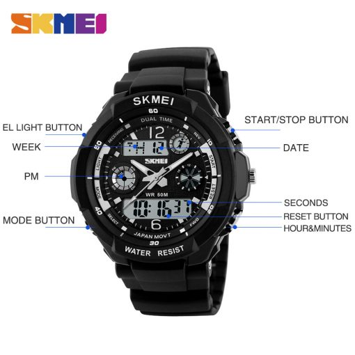 SKMEI Adult Kids Suit Watch Anti-Shock Waterproof Outdoor Sport Children Watch Men Fashion Digital Wristwatch Relogio Masculino 4