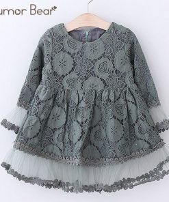 Humor Bear Girls Dress 2018 Autumn Brand Kids Dress Lace Flare Sleeve Style Princesses Mesh Dress Baby Girls Dress 1