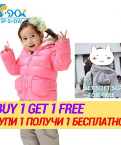 BUY 1 SUIT GET 1 FREE SCARF -30 degrees SP-SHOW Winter 90% White down suit kids Suit set For 2-6 Age Luxury Brand Kids Hooded 1