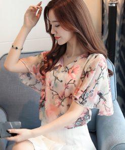 2018 fashion printing chiffon women blouse shirt short sleeve plus size women's clothing sweet  v-neck women tops blusas D630 30 1