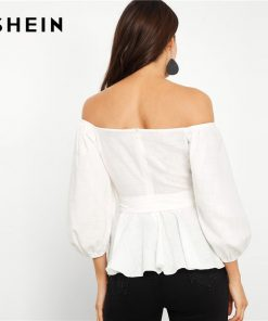 SHEIN White Cotton Off Shoulder Self Tie Waist Peplum Bishop Sleeve Top Women Workwear Autumn Elegant Minimalist Blouses  1