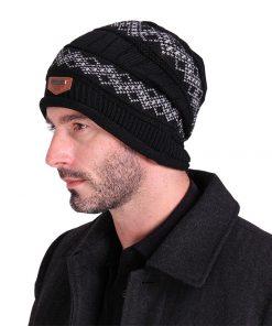 Men Skullies Casual Solid Headgear Winter Label Knitted Cap Male Wool Hat Label Cashmere Brand Keep Beanies Earmuffs Gorros M068 1