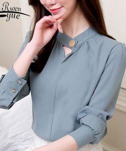 fashion women blouse 2018 long sleeve blue women chiffon blouse shirt OL blouse women tops shirt blusas feminine blouses 0612 50
