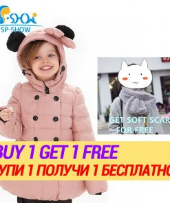 BUY 1 SUIT GET 1 FREE SCARF -30 degrees SP-SHOW Winter 90% White Outwear Hooded Jacket Boy And Girl Clothing Sets Down Suit  1
