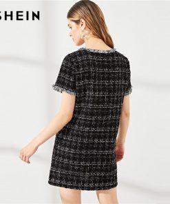 SHEIN Black Round Neck Frayed Edge Button Detail Tweed Dress Fringe Weekend Casual Hem Women Summer Modern Lady Short Dress 1