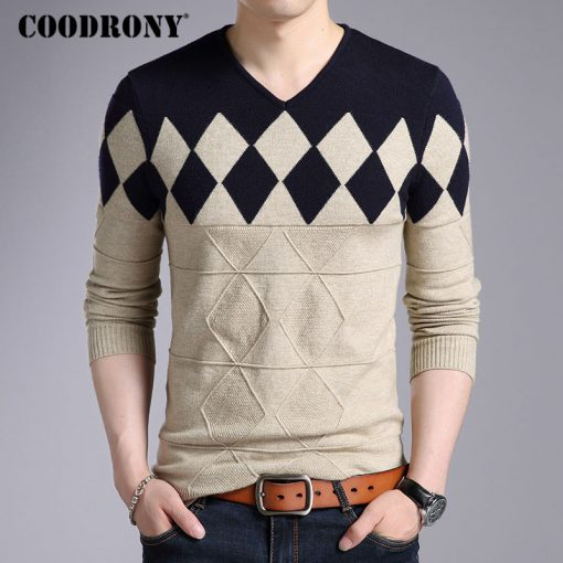 COODRONY Cashmere Wool Sweater Men 2018 Autumn Winter Slim Fit Pullovers Men Argyle Pattern V-Neck Pull Homme Christmas Sweaters 4