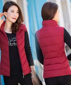 1PC New Brand women vest Winter jacket Hooded Thicken Warm Casual Cotton Padded Waistcoat female Sleeveless waistcoat Z5450 1