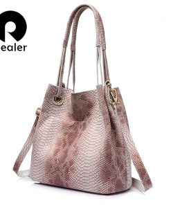 REALER brand genuine leather handbags women casual tote bag female serpentine prints shoulder bag ladies large crossbody bags