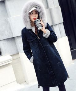 Streetwear Plus Size Jacket Winter Women 2018 Warm Long Sleeve Thicken Velvet Winter Coat WomenS Fur Collar Denim Jackets Z5890 1