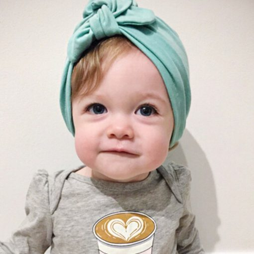 New Baby Hats Rabbit Ears Beanie Hat Lovely BowKnot Cotton Turban Caps Spring Children Kids Headwear Hair Accessories 1-6Y 1