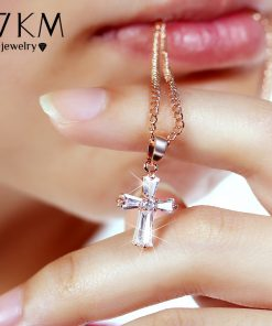 17KM Rose Gold Color Cross Pendant Necklaces For Woman Crystal Pendant Cubic Zirconia Long Necklace Bijoux Jewelry Wholesale