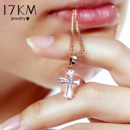 17KM Rose Gold Color Cross Pendant Necklaces For Woman Crystal Pendant Cubic Zirconia Long Necklace Bijoux Jewelry Wholesale