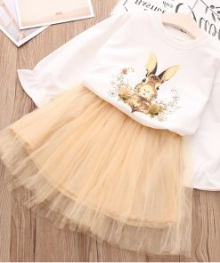 Humor Bear 2018 Autumn Baby Girl Clothes Cartoon Print Suit Girls Clothing Sets Love Long Sleeve + dress Casual 2PCS Girls Suits 1
