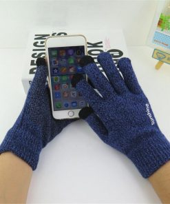 VISNXGI Hot Selling Touched Screen Gloves Unisex Warm Winter Knitted Full Finger Gloves Mittens Women Men Cashmere Winter Warm 1