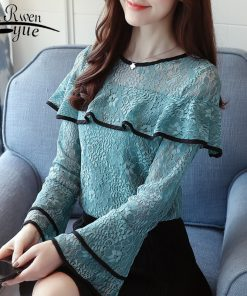 fashion woman blouses 2018 Sexy hollow lace women blouse shirt long sleeve green lace ladies tops blusas feminine blouse 0717 40