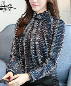 new Fashion 2018 chiffon women blouse shirt print blue striped women's clothing long sleeves office lady tops blusas  C924 30