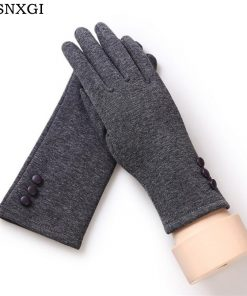 VISNXGI 2018 Fashion Winter Female Touched Glove Women Warm Wrist Mittens Touched Gloves With Three Buttons Black Good Quality