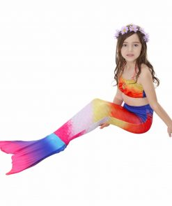 2018 Factory unique design Direct Sale 3Pcs Mermaid Tail Swimmable Swimsuit for girls Birthday gifts Swimwear Bikini Bathing Set 1