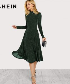 SHEIN Green Elegant Party Mock Neck Glitter Button Fit And Flare Solid Natural Waist Dress 2018 Autumn Minimalist Women Dresses 1