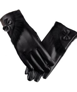 VISNXGI Winter Gloves Touched Gloves PU Leather Women Gloves Female Waterproof Faux Rabbit Fur Mujer Gants Femme Guantes Tactil 1