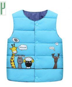 Spring autumn childrens vest Cotton Warm Vest kids girls winter Animal Print sleeveless jackets baby boy vest Outwear 2 8 years 1
