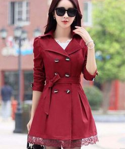1PC Trench Coat For Women Spring Coat Double Breasted Lace Casaco Feminino Autumn Outerwear Abrigos Mujer Hot Sale Z015-1 1