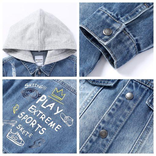 Balabala cotton jeans jacket for boys jacket for boy spring-autumn pattern on the back Hooded jacket clothes for boys enfant 5