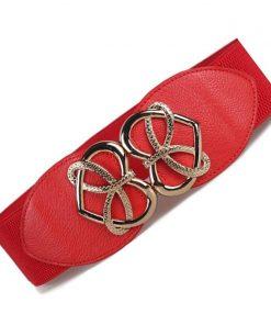 New Fashion Women's Cummerbund HOT gold heart buckle Belt Wide WaistBand Female Leather Cummerbunds for Dresses Beautiful Design 1