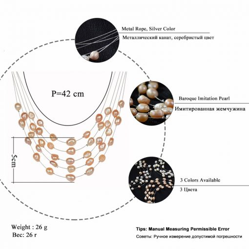 RAVIMOUR Simulated Pearl Jewelry Multilayer Boho Choker Necklace for Women Fashion Baroque Perlas Statement Necklaces & Pendants 2