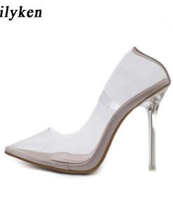 Eilyken Clear PVC Transparent Pumps Sandals Perspex Heel Stilettos High Heels Point Toes Womens Party Shoes Nightclub Pump 35-42 1