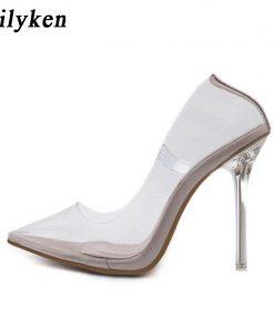 Eilyken Clear PVC Transparent Pumps Sandals Perspex Heel Stilettos High Heels Point Toes Womens Party Shoes Nightclub Pump 35-42 1