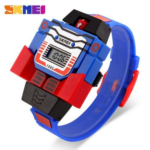 SKMEI Kids LED Digital Children Watch Cartoon Sports Watches Relogio Robot Transformation Toys Boys Wristwatches 1095 2
