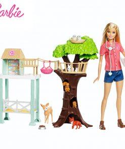 2018 Barbie Animal Doll & Playset Lovely RescuerAnimal House Toy Building Little Girl Baby Girl Toys Poppenhuis Casa de Boneca