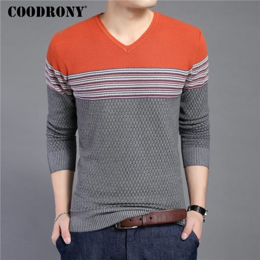 COODRONY 2018 New Arrival Hit Color Striped Patchwork Pullover Men V-Neck Pull Homme Casual Knitted Cotton Wool Sweater Top 6646 1