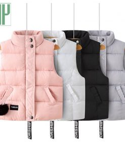 HH Children warm hooded vest Thickening windbreaker jacket waistcoat sleeveless baby girl boys vest Down Cotton coat 3 4 6 8year