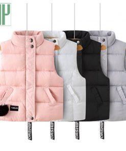 HH Children warm hooded vest Thickening windbreaker jacket waistcoat sleeveless baby girl boys vest Down Cotton coat 3 4 6 8year