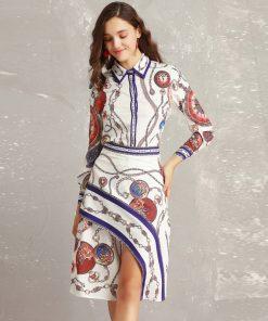 High quality designer Suit sets Women's long sleeve printed shirt+High Street Fashion Asymmetrical Skirt Casual Slim 2 Piece Set 1